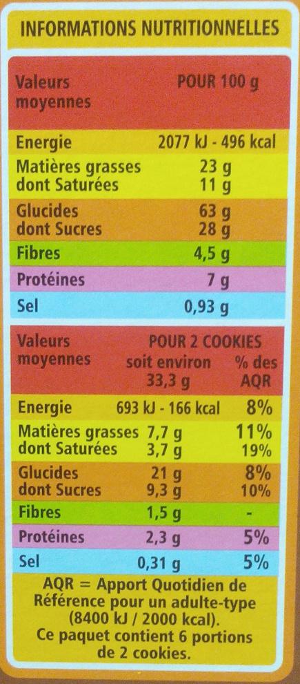 Cookies Tout Chocolat - Voedingswaarden
