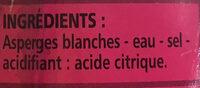 Asperges blanches pelées miniatures - Ingredients