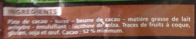 Chocolat noir dessert - Ingrédients - fr