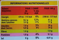 Noir noisettes entières - Informations nutritionnelles
