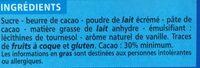 Chocolat au lait familial 3x100g Casino - Ingrédients