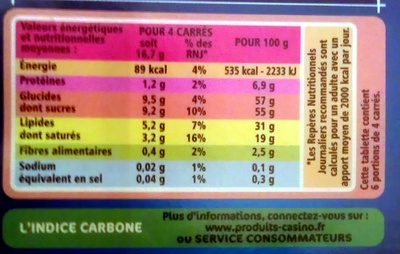Chocolat au lait familial 3x100g Casino - Informations nutritionnelles
