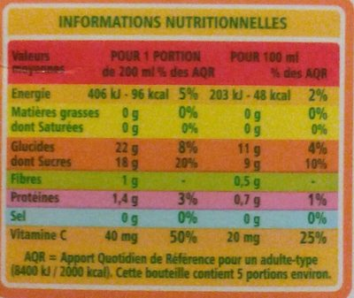100% Pur Jus ORANGE - Informations nutritionnelles