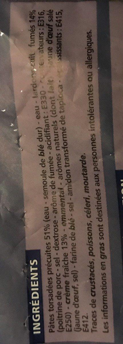 Torsade à la carbonara - Ingrediënten
