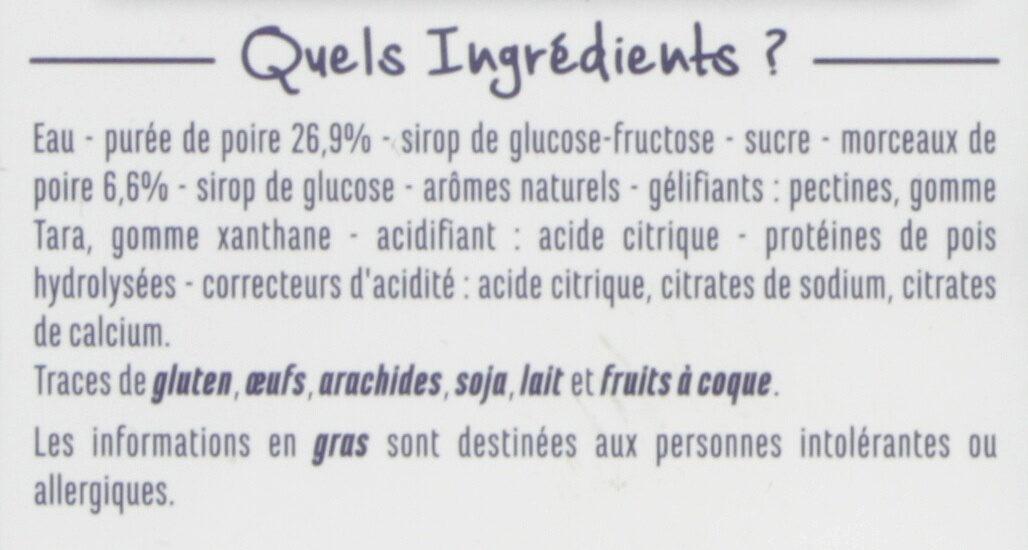 Sorbet poire avec morceaux de poire - Ingredients