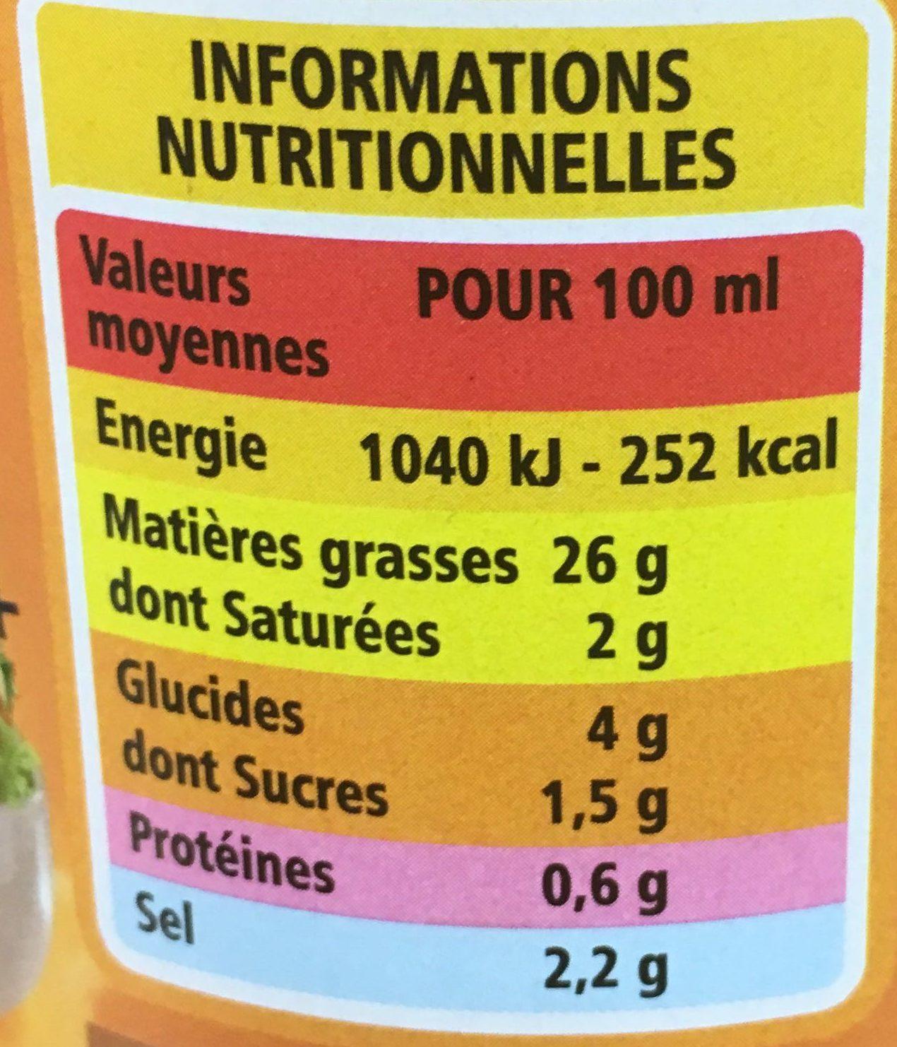 Vinaigrette moutarde à l'ancienne allégée en matières grasses - Informazioni nutrizionali - fr