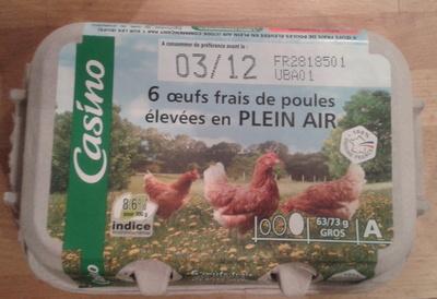 """6 Oeufs frais de poules élevées en plein air - symbole """"Oeuf Gros"""" - Gros - A - Product"""