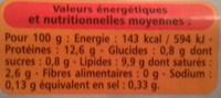 6 oeufs frais de poules élevées en plein air - Nutrition facts - fr