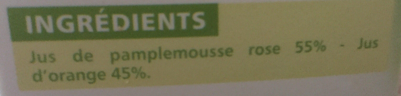 100% Pur Jus Pamplemousse rose Orange - Ingrediënten - fr