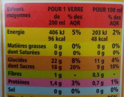 100% Pur Jus Pamplemousse rose Orange - Voedingswaarden - fr