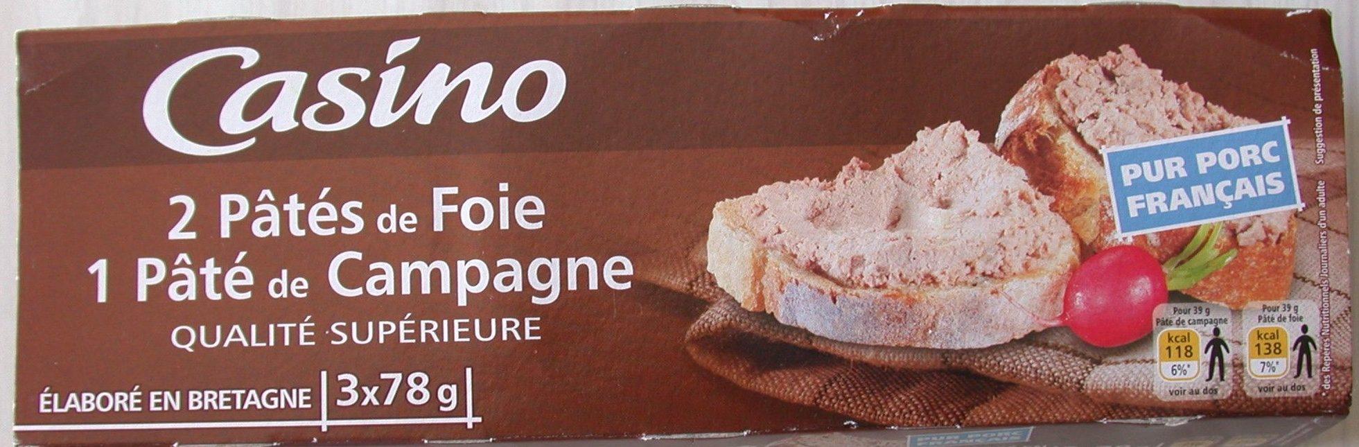 2 Pâtés de foie - 1 Pâté de campagne - Produit - fr