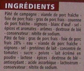 2 Pâtés de foie - 1 Pâté de campagne - Ingrédients - fr