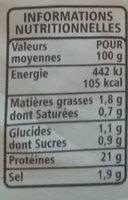 Blanc de poulet doré au four 4 tranches - Informations nutritionnelles - fr