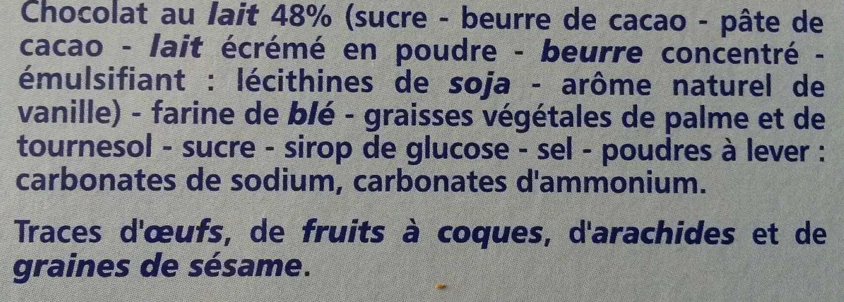 Fusetti au chocolat au lait - Ingrédients - fr