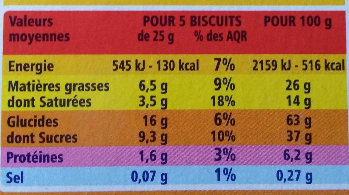 Fusetti au chocolat au lait - Informations nutritionnelles - fr