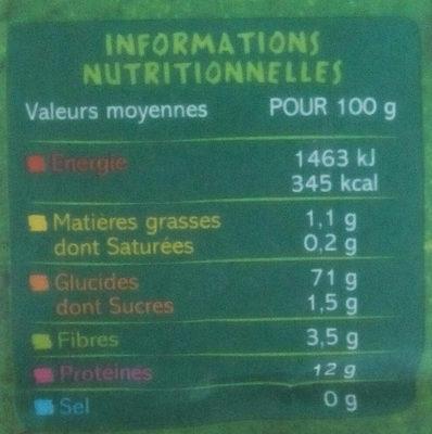 Farine de blé biologique - Informations nutritionnelles - fr