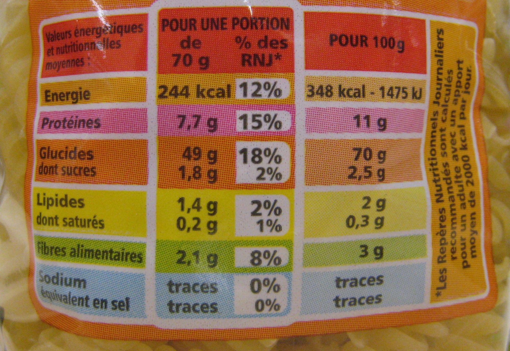 Torsades QS BIO - Informations nutritionnelles - fr