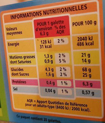 Galettes bretonnes BIO - Nutrition facts