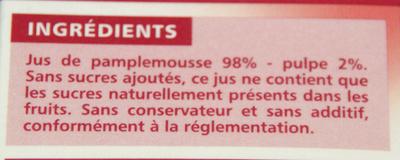 100% Pur Jus Pamplemousse rose Flash pasteurisé – Naturellement riche en vitamine C - Ingrediënten