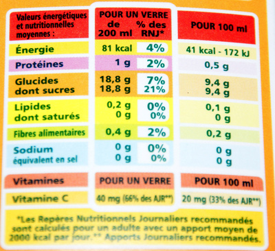 100% Pur Jus Pamplemousse rose Flash pasteurisé – Naturellement riche en vitamine C - Voedingswaarden