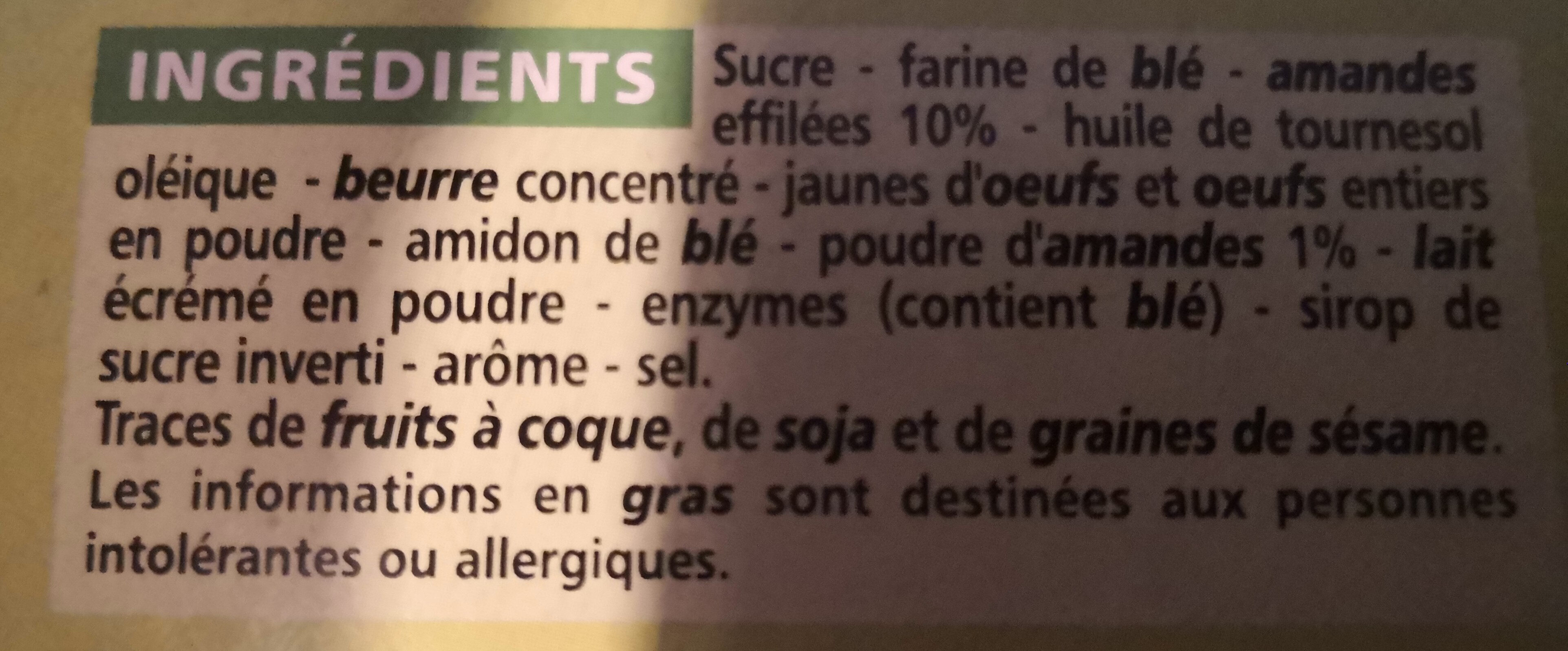 Tuiles aux amandes - Ingrediënten - fr