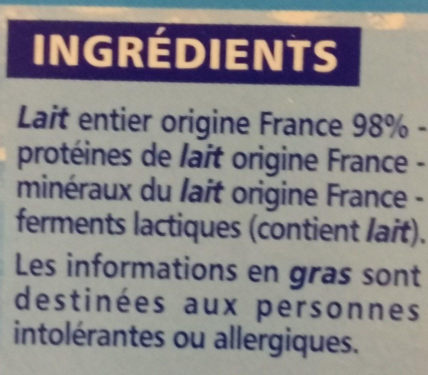 Yaourt brassé nature - Ingrédients