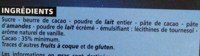 chocolat lait dégustation - Ingrédients - fr