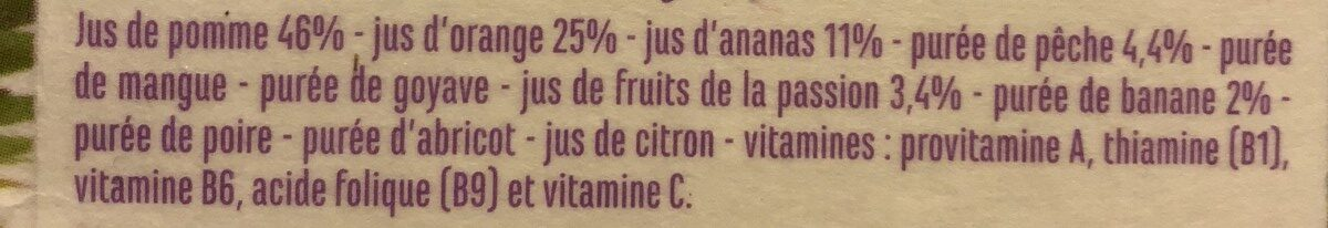 Jus Multivitaminé - Flash pasteurisé - Source de 5 vitamines - Ingrédients - fr