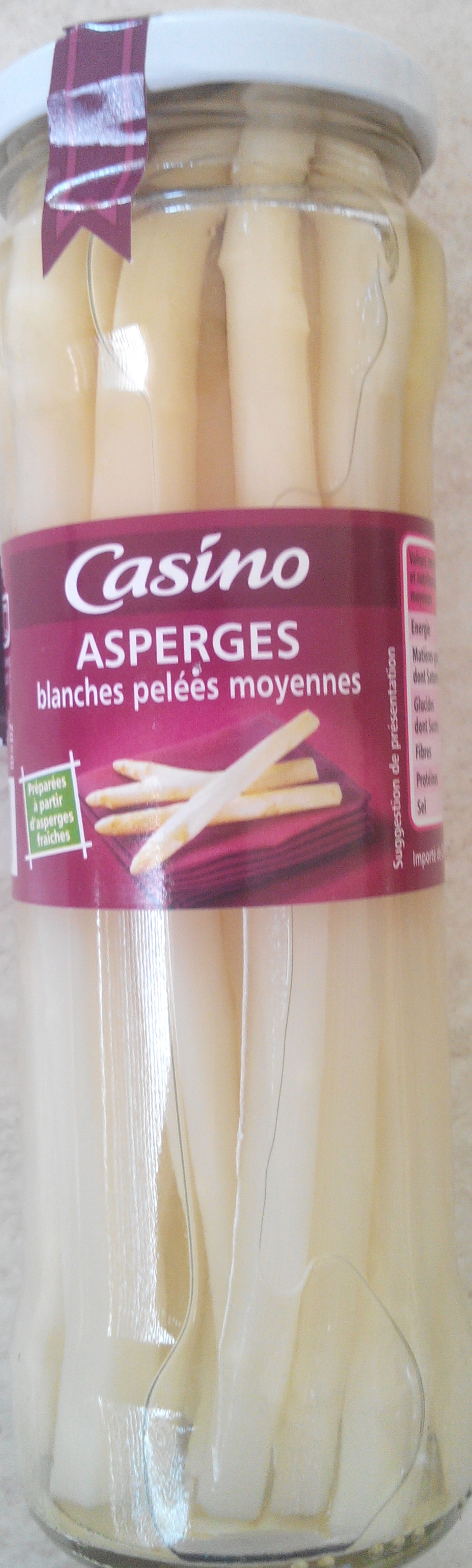Asperges blanches Pelées Moyennes - Product - fr