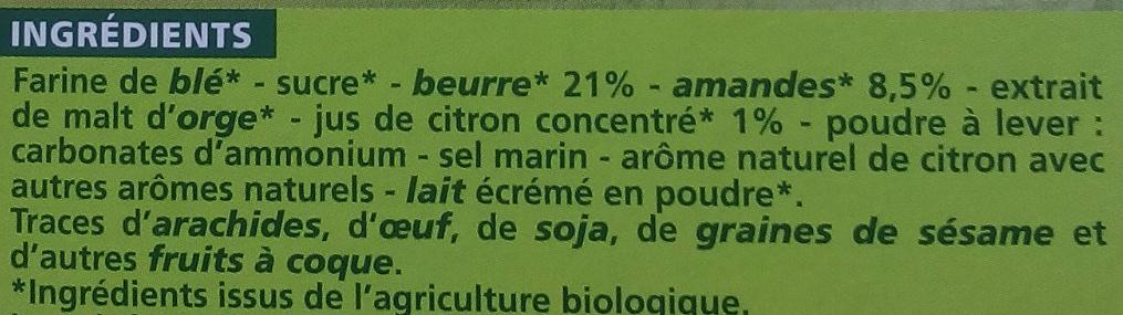 Sablés aux amandes et au citron - Ingredients - fr