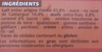 Gâteau de riz au caramel - Doré au four - Ingredients - fr