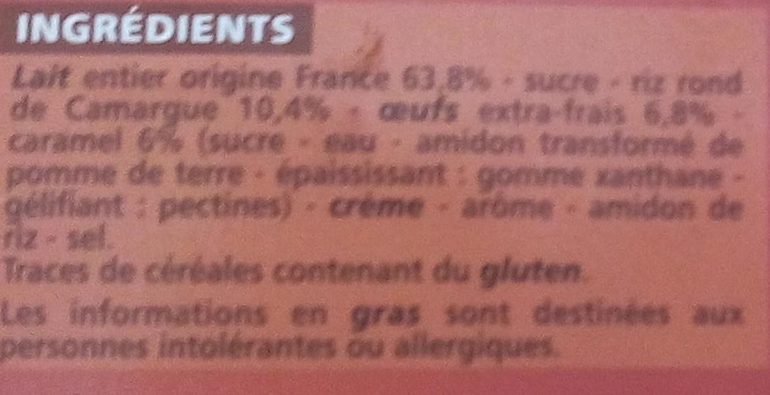 Gâteau de riz au caramel - Doré au four - Ingredients