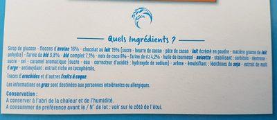 Barres céréales chocolat au lait noix de coco - Ingrediënten - fr