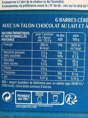 Barres céréales chocolat au lait noix de coco - Voedingswaarden