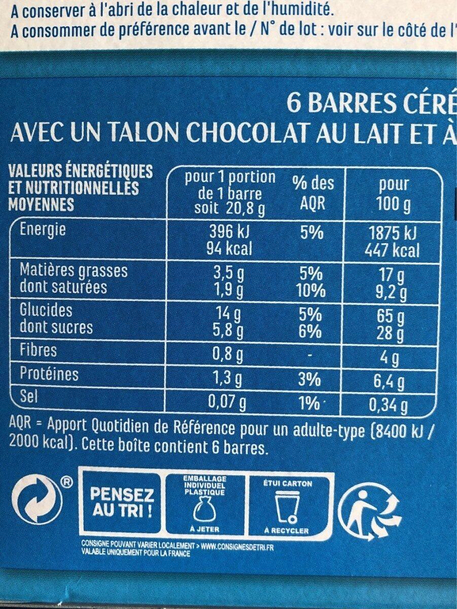 Barres céréales chocolat au lait noix de coco - Voedingswaarden - fr