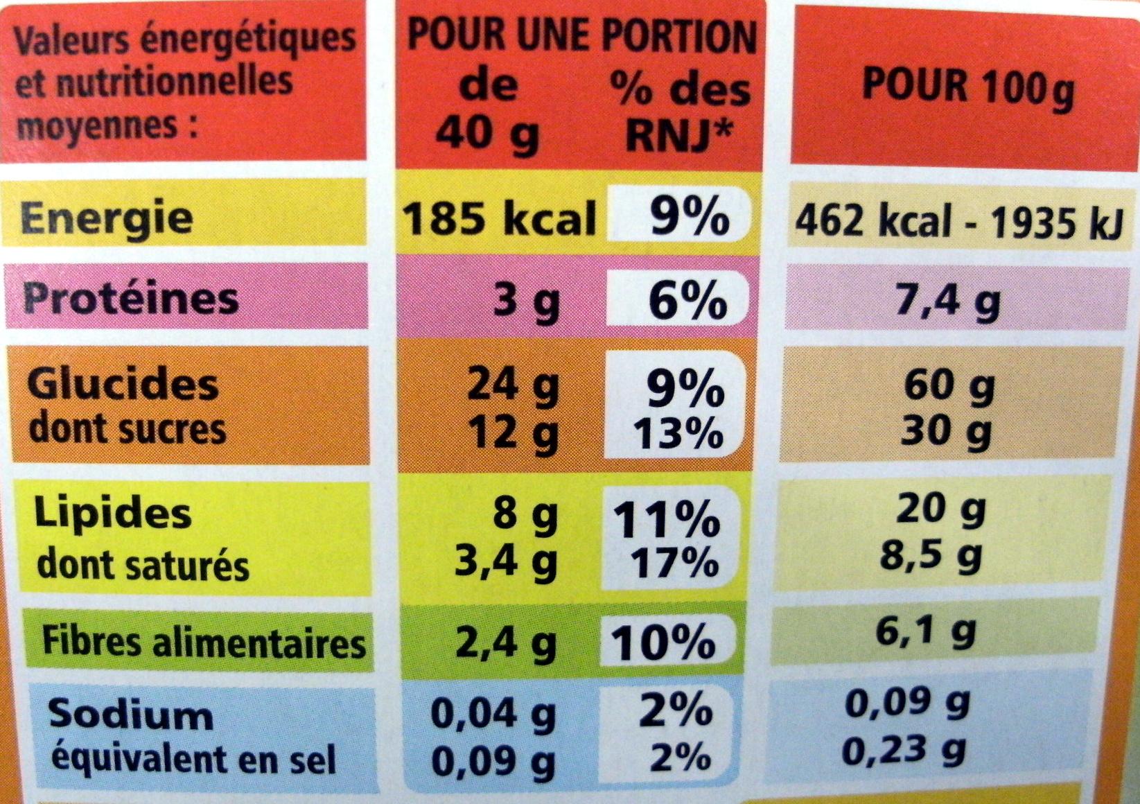 Casino croustillant aux céréales et aux fruits - Voedingswaarden - fr