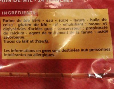 Pain de mie extra moelleux 24 tranches - Ingrediënten - fr