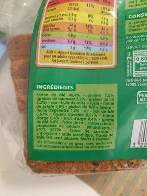 Spécial sandwich multicéréales - Ingrédients - fr