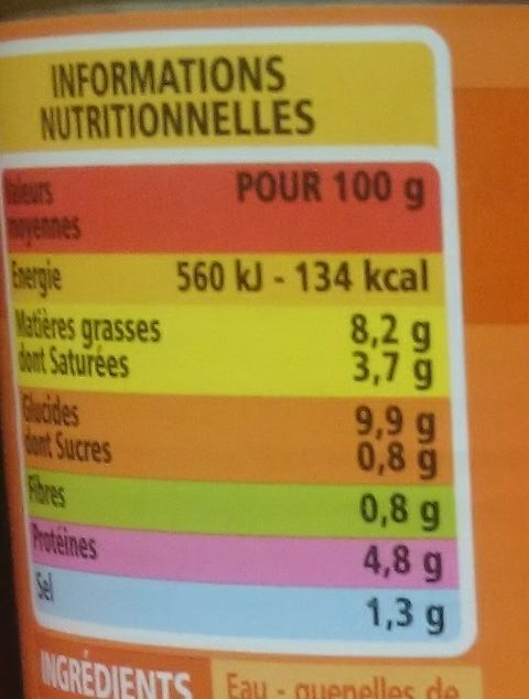 Garniture pour Bouchées à la Reine - Informations nutritionnelles - fr
