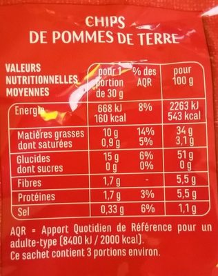 Chips Nature - Informations nutritionnelles