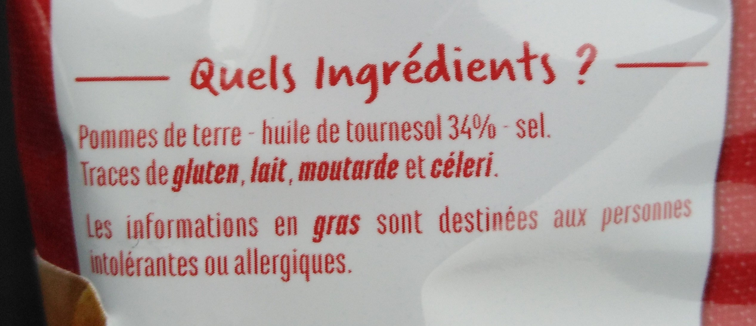 Chips nature - Ingrediënten