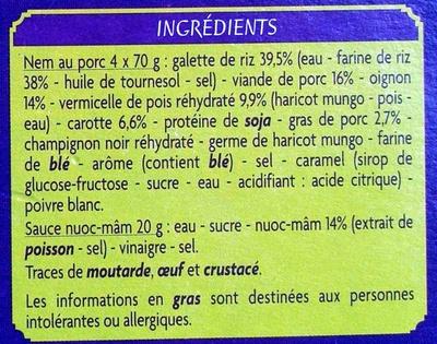 4 nems au porc avec sauce nuoc-mâm - Ingredients - fr