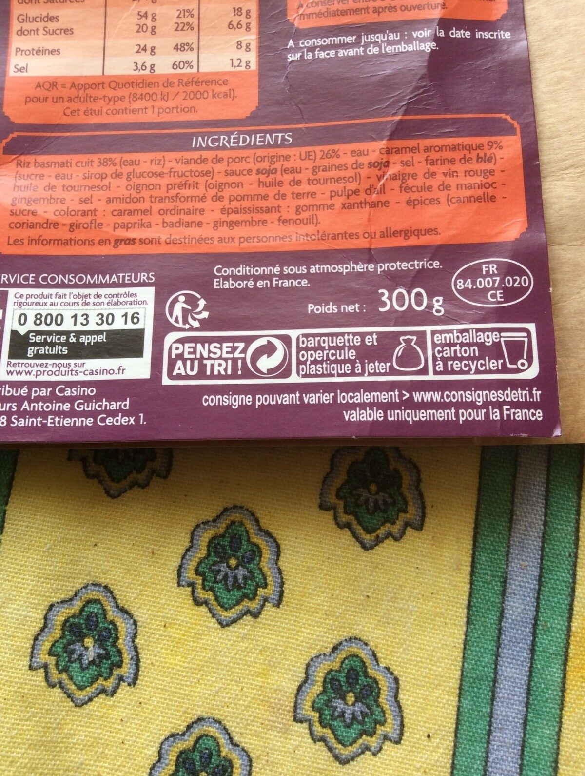 Porc au caramel et riz thaï - Ingrediënten - fr