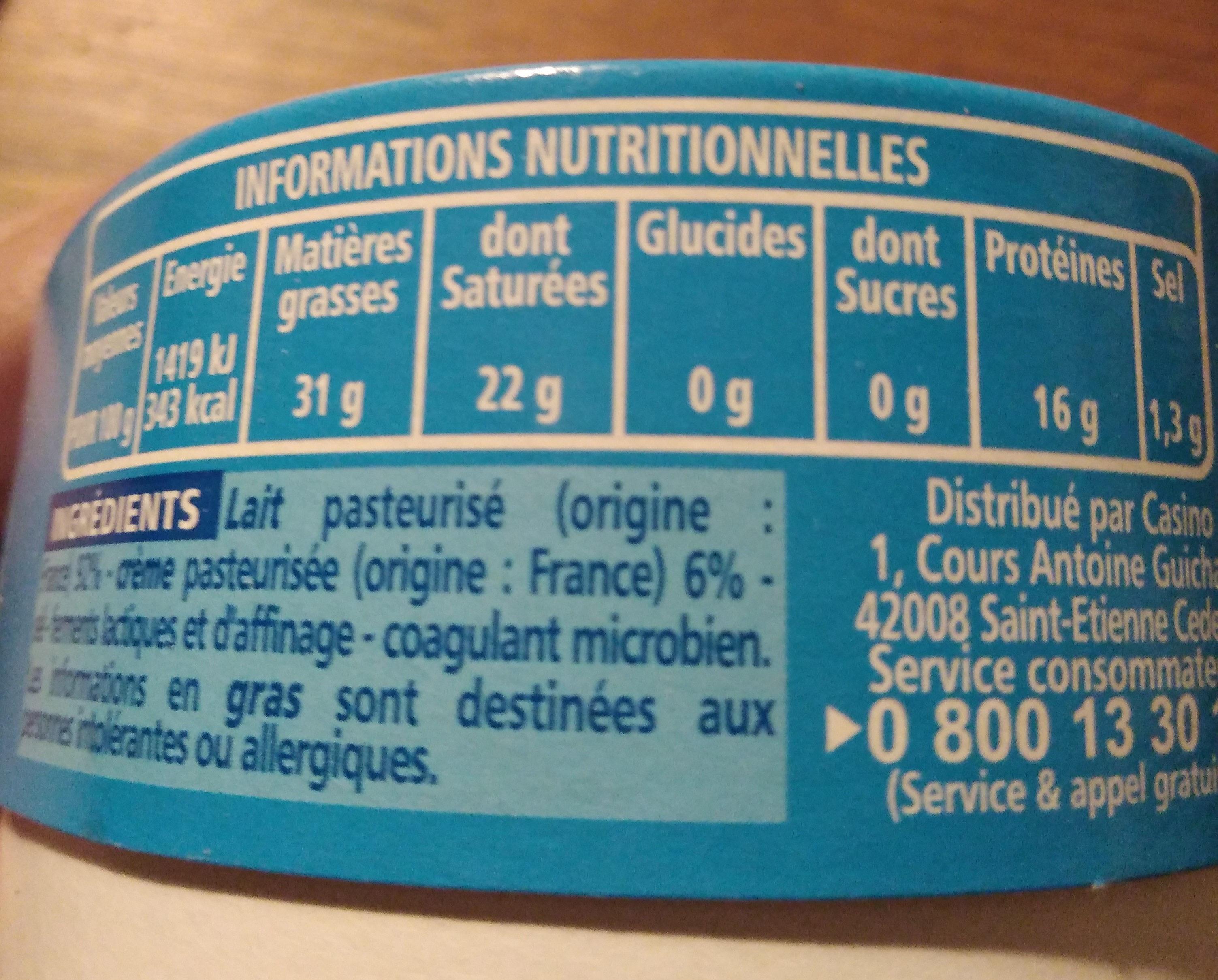 Le Crémeux - Fromage au coeur tendre et onctueux - Nutrition facts - fr