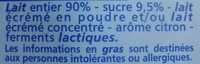 Yaourt au lait entier Saveur Citron - Ingrédients - fr