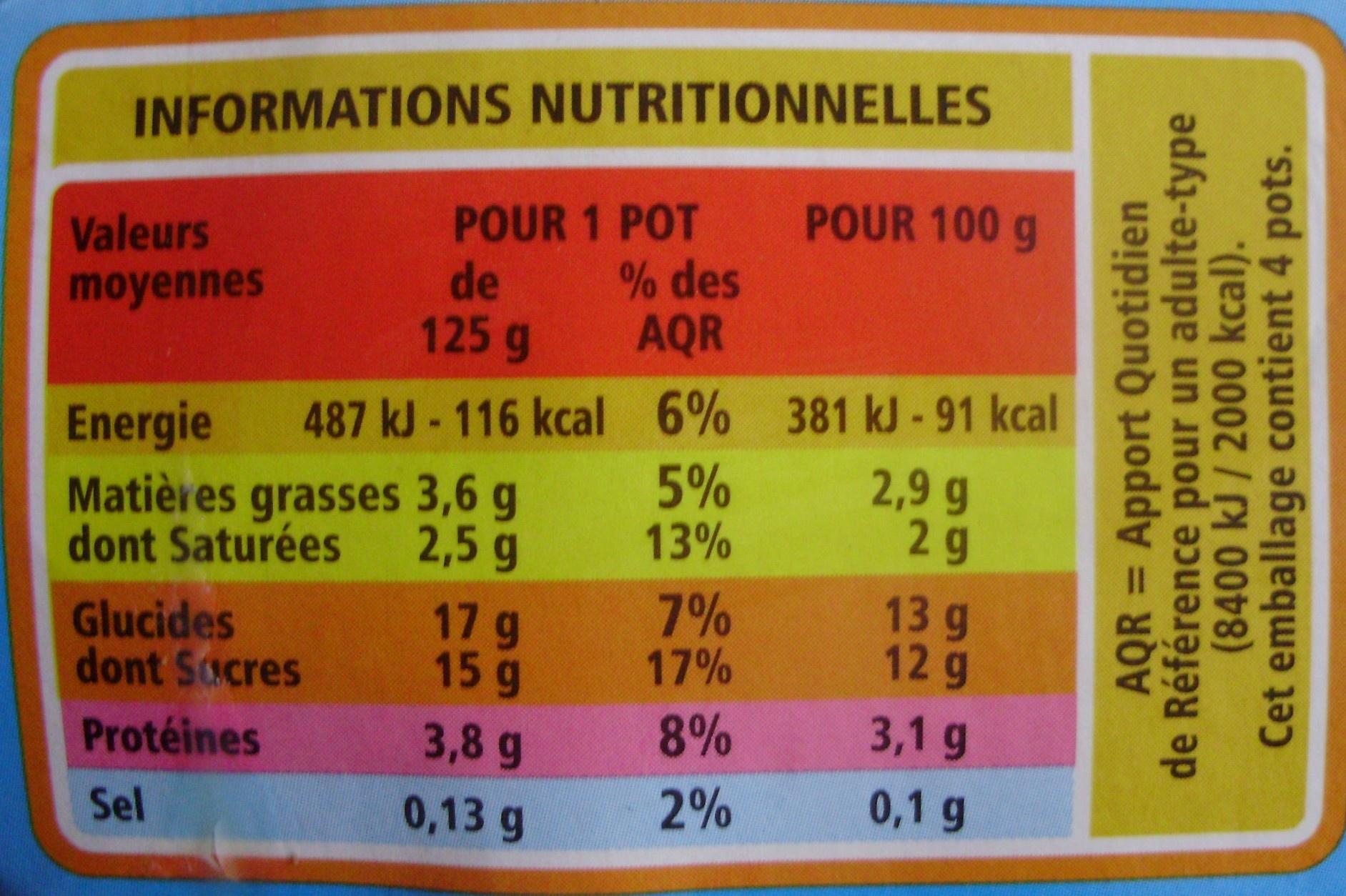 Yaourt au lait entier Saveur Citron - Informations nutritionnelles - fr
