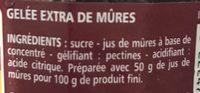 Gelée extra de Mûres - Ingredients