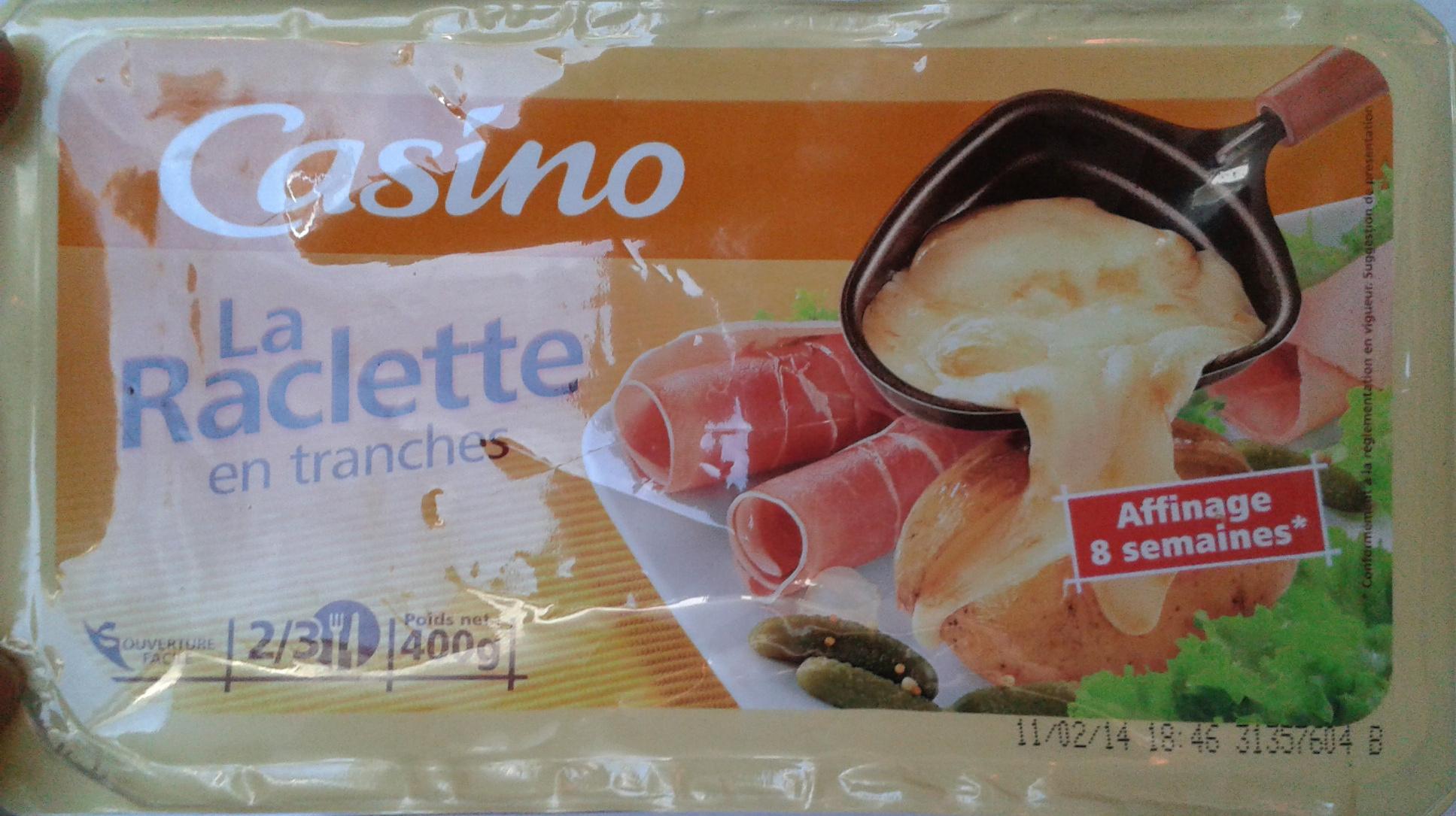La raclette 26 mg en tranches 400 g casino 400 g - Quantite de fromage a raclette par personne ...