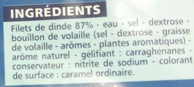 Blanc de Dinde Doré au four 4 Tranches - Ingrédients - fr
