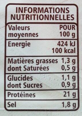Blanc de Dinde Doré au four 4 Tranches - Informations nutritionnelles - fr
